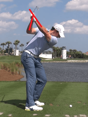 rory mcilroy flying wedges top of the swing